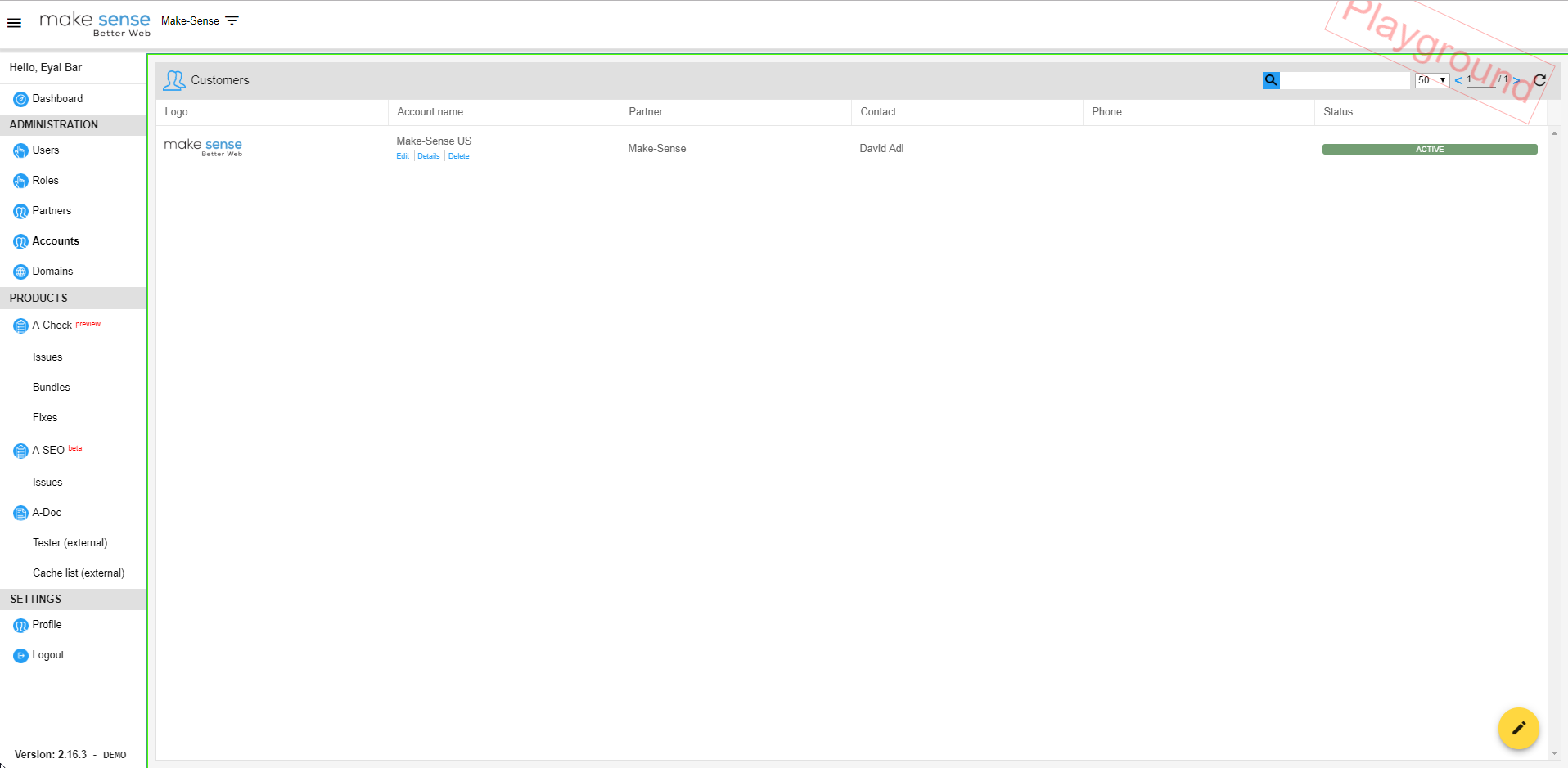 Image of accounts section. allows to create new accounts, edit and display existing accounts.