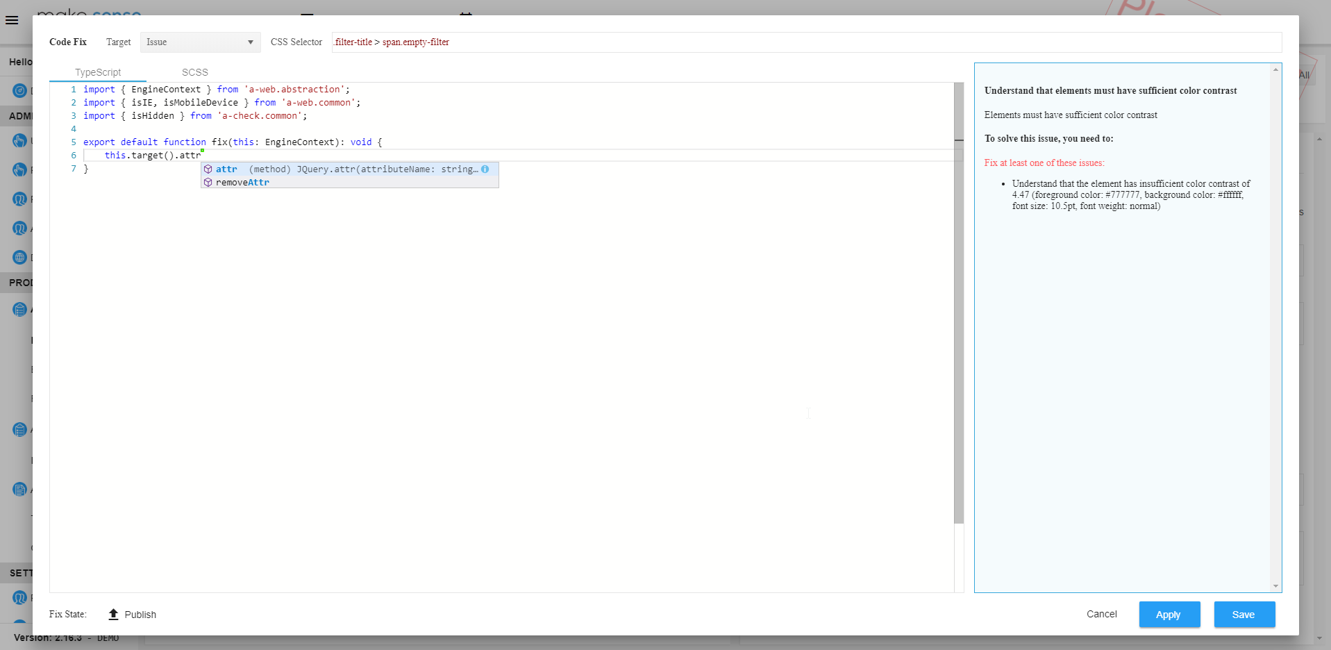 Image of the platform code editor for writing patches for selected issues.