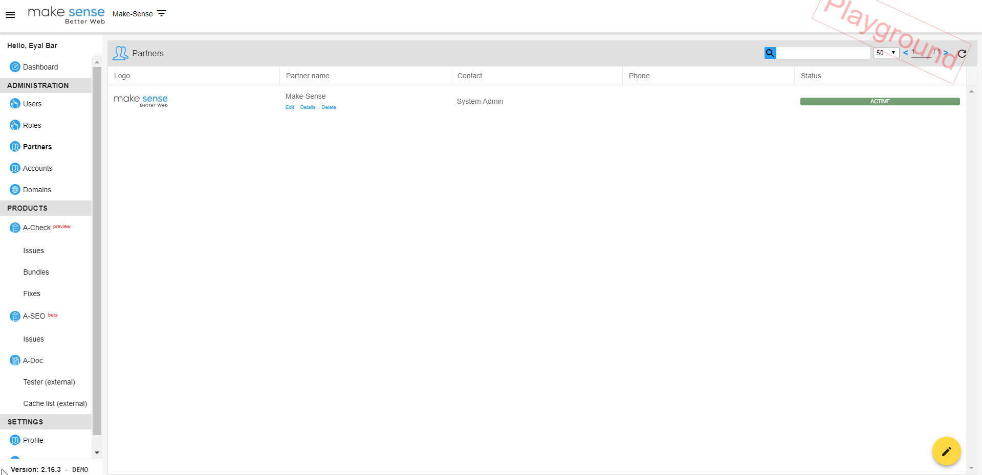 Image of partners section. allows to create new partners, edit and display of existing partners